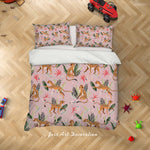 3D Pink Floral Leopard Quilt Cover Set Bedding Set Duvet Cover Pillowcases LXL 252