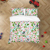 3D Watercolor Peach Blossom Bird Quilt Cover Set Bedding Set Duvet Cover Pillowcases 23
