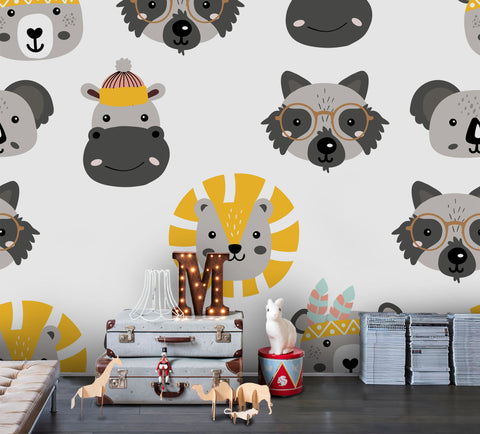 3D Cartoon Animal Lion Giraffe Wall Mural Wallpaper A173 LQH