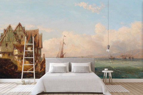 3D beach house oil painting wall mural wallpaper 62