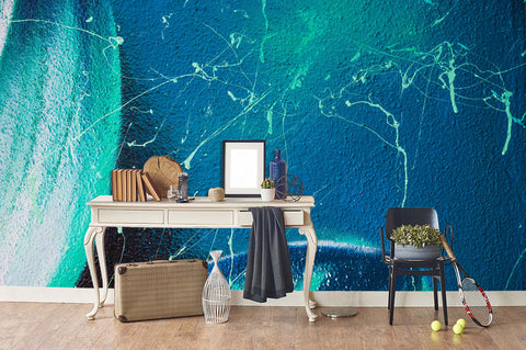 3D Abstract Blue Scratch Brick Wall Mural Wallpaper 56