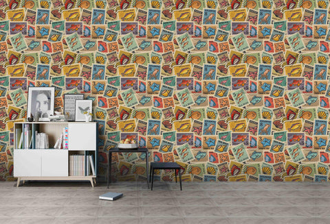3D Cartoon Marine Biological Stamp Wall Mural Wallpaper A002 LQH