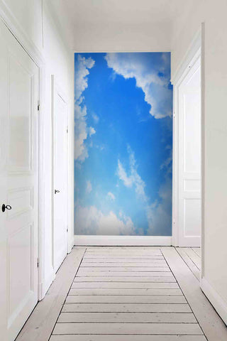 3D blue sky white cloud wall mural wallpaper 35