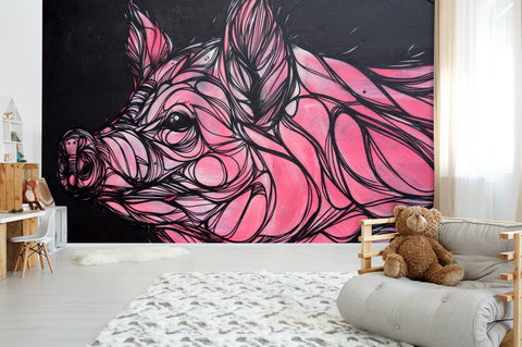 3D Abstract Pink Pig Graffiti Wall Mural Wallpaper 183