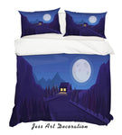 3D Blue Moon Mountains Trees House Quilt Cover Set Bedding Set Pillowcases 19
