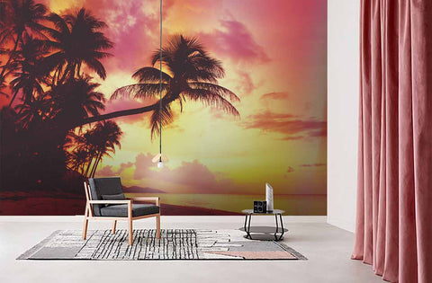 3D pink sky coconut tree wall mural wallpaper 65