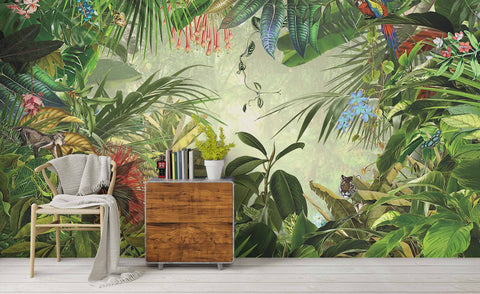3D Watercolor Tropical Jungle Wall Mural Wallpaper 21