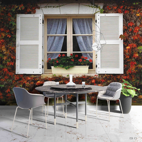 3D Red Maple Leaves Plant White Window Scenery Wall Mural Wallpaper LXL