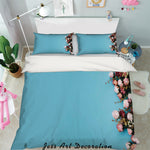 3D Pink Rose Blue Quilt Cover Set Bedding Set Pillowcases 02