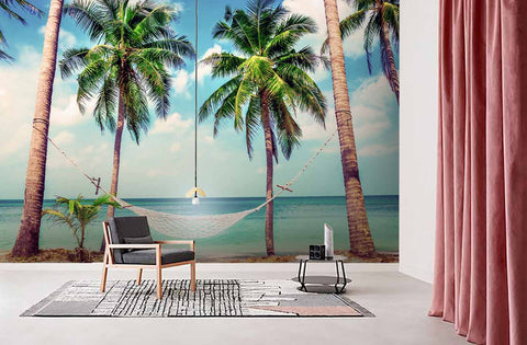 3D Blue Sky Sea Coconut Tree Wall Mural Wallpaper 80