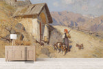 3D mountain cottage oil painting wall mural wallpaper 45
