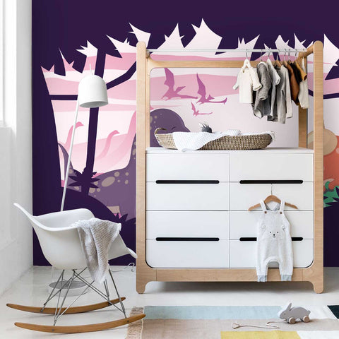 3D Purple Dinosaur Bat Wall Mural Wallpaper 3