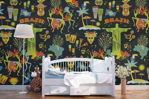3D Cartoon Primitive Tribe Wall Mural Wallpaper SF130