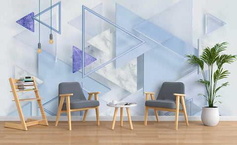 3D Blue Triangle Wall Mural Wallpaper 67