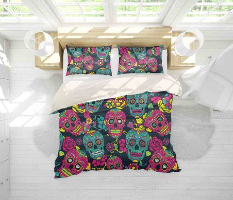 3D Red Skull Quilt Cover Set Bedding Set Pillowcases 27