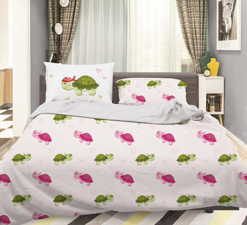 3D Pink Green Cartoon Turtle Quilt Cover Set Bedding Set Pillowcases 40