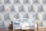 3D White Solid Square Wall Mural Wallpaper 26