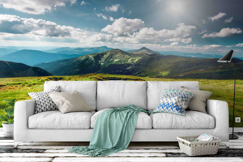 3D blue sky mountain grassland wall mural wallpaper 8