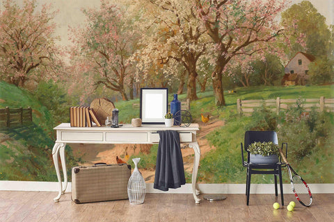3D Spring  Countryside Oil Painting Wall Mural Wallpaper 60