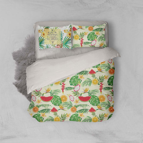 3D Palm Leaves Fruits Quilt Cover Set Bedding Set Pillowcases 24
