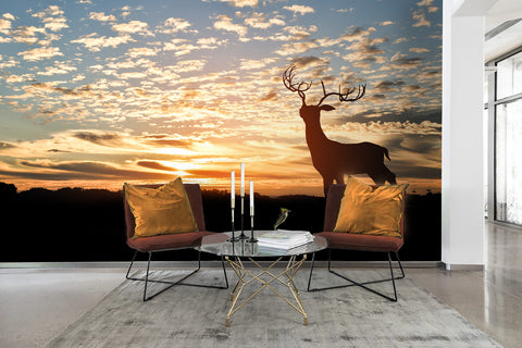 3D Elk Sky Sunset Clouds Wall Mural Wallpaper 31