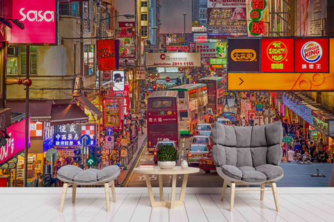 3D Busy City Scenery Wall Mural Wallpaper 49
