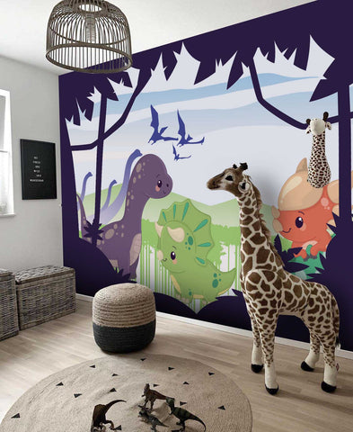 3D Purple Dinosaur Bat Wall Mural Wallpaper 4
