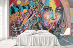 3D girl face colorful graffiti wall mural wallpaper 42