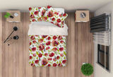 3D Red Floral Quilt Cover Set Bedding Set Pillowcases 72