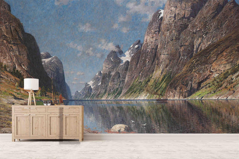 3D Mountains  Canyon Oil Painting Wall Mural Wallpaper 8
