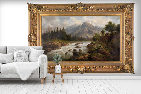 3D Picture Frame Landscape Painting Wall Mural Wallpaper  2