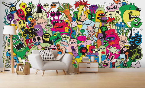 3D Cartoon Graffiti Wall Mural Wallpaper SF18