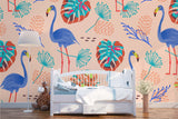 3D Tropical Flamingo Palm Leaves Wall Mural Wallpaper 49