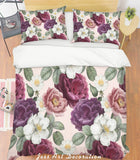 3D Purple Flowers Green Leaves Quilt Cover Set Bedding Set Pillowcases 188