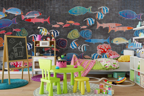 3D Watercolor Abstract Seabed Fish Wall Mural Wallpaper 216