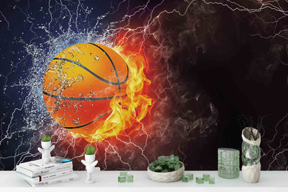 3D Basketball Fire Wall Mural Wallpaper 193