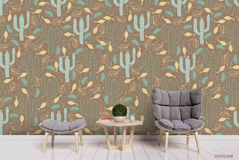 3D Hand Drawn Vintage Cactus Leaves Plant Pattern Wall Mural Wallpaper LXL