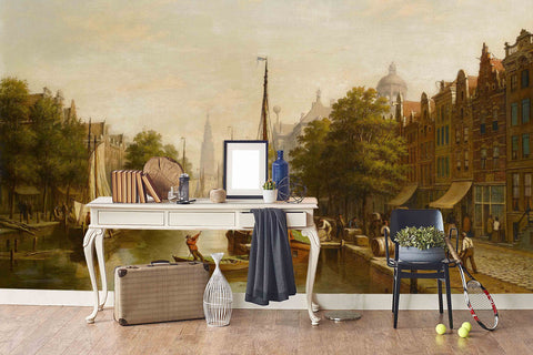 3D Nordic City Canal Oil Painting Wall Mural Wallpaper 16