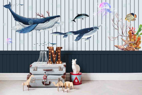 3D Cartoon Blue Fence Stripe Whale Wall Mural Wallpaper 28