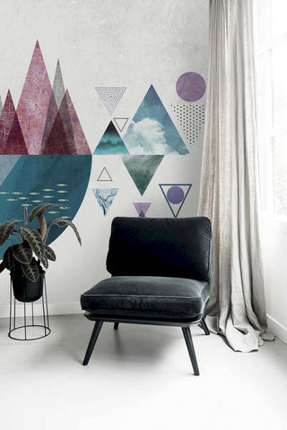 3D triangle circle semicircle dolphin wall mural wallpaper 6