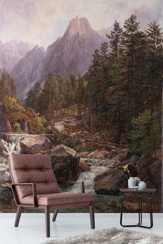 3D mountain jungle oil painting wall mural wallpaper 86