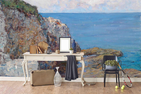 3D Seaside Scenery Oil Painting Wall Mural Wallpaper 54