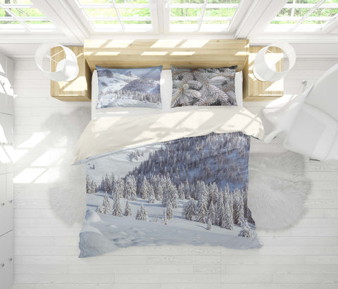 3D Winter Snow Pine Forest Quilt Cover Set Bedding Set Pillowcases 84
