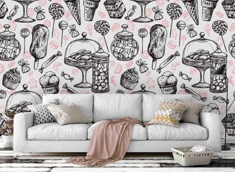3D black white cartoon pattern wall mural wallpaper 66