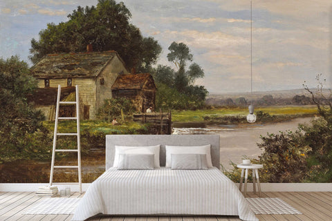 3D old houses countryside oil painting wall mural wallpaper 57