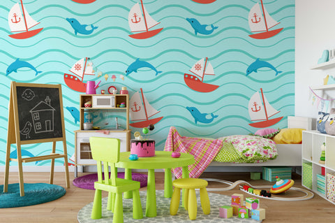 3D Sea Sailing Dolphin Wall Mural Wallpaper 108