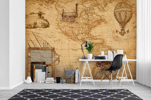 3D Retro Map Hot Air Balloon Sailboat Wall Mural Wallpaper SF50