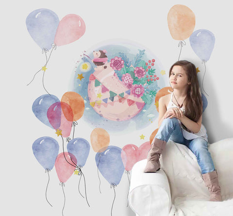 3D Watercolor Balloon Hedgehog Wall Mural Wallpaper 20