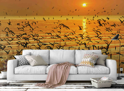 3D sunset sea gull wall mural wallpaper 4