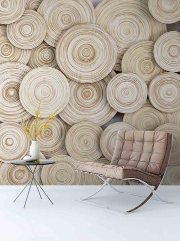 3D Wood Annual Rings Wall Mural Wallpaper 70